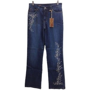 NWT Makers USA Stretch Pearl Stud Blue Jeans 41""